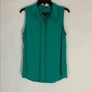 Teal Banana Republic Sleeveless Button-Up Shirt